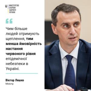 Чим більше людей отримують щеплення, тим менша ймовірність настання червоного рівня епідемічної небезпеки в Україні.